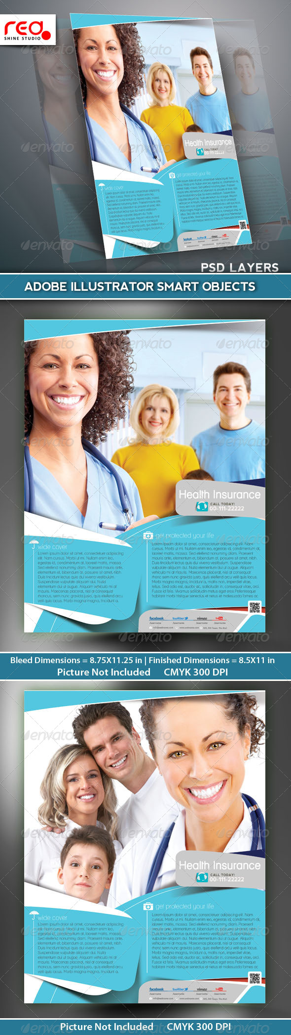 GraphicRiver Health Insurance Flyer Poster Template 5306934