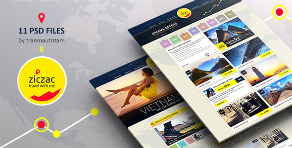 Ziczac Travel – Online Booking PSD Templates - Travel Retail
