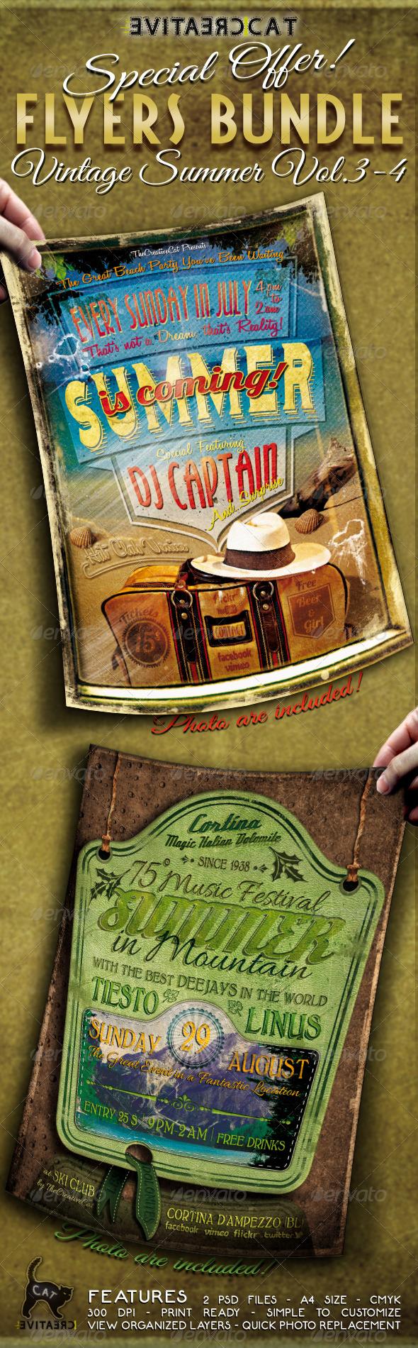 GraphicRiver Vintage Summer Flyer Poster Bundle Vol 3-4 5307192