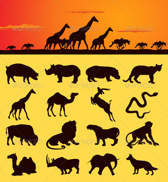 Graphic River African animals2 Vectors -  Characters  Animals 546784