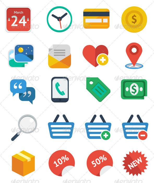 GraphicRiver 20 Flat eCommerce Icon Set 5286765