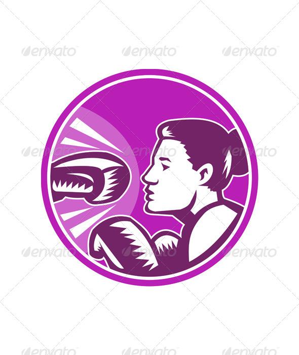 GraphicRiver Female Boxer Punch Retro 5307328