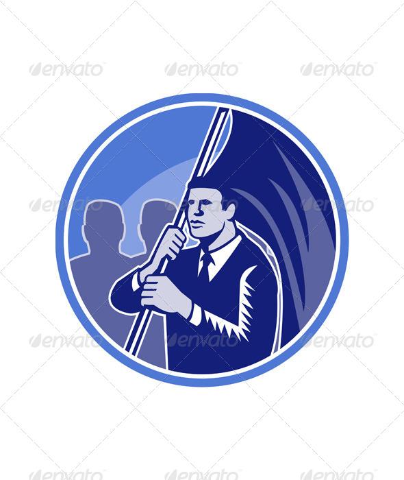 GraphicRiver Businessman Flag Bearer Retro 5307333