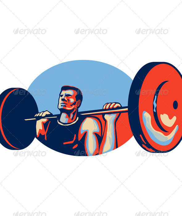 GraphicRiver Weightlifter Lifting Weights Retro 5307400