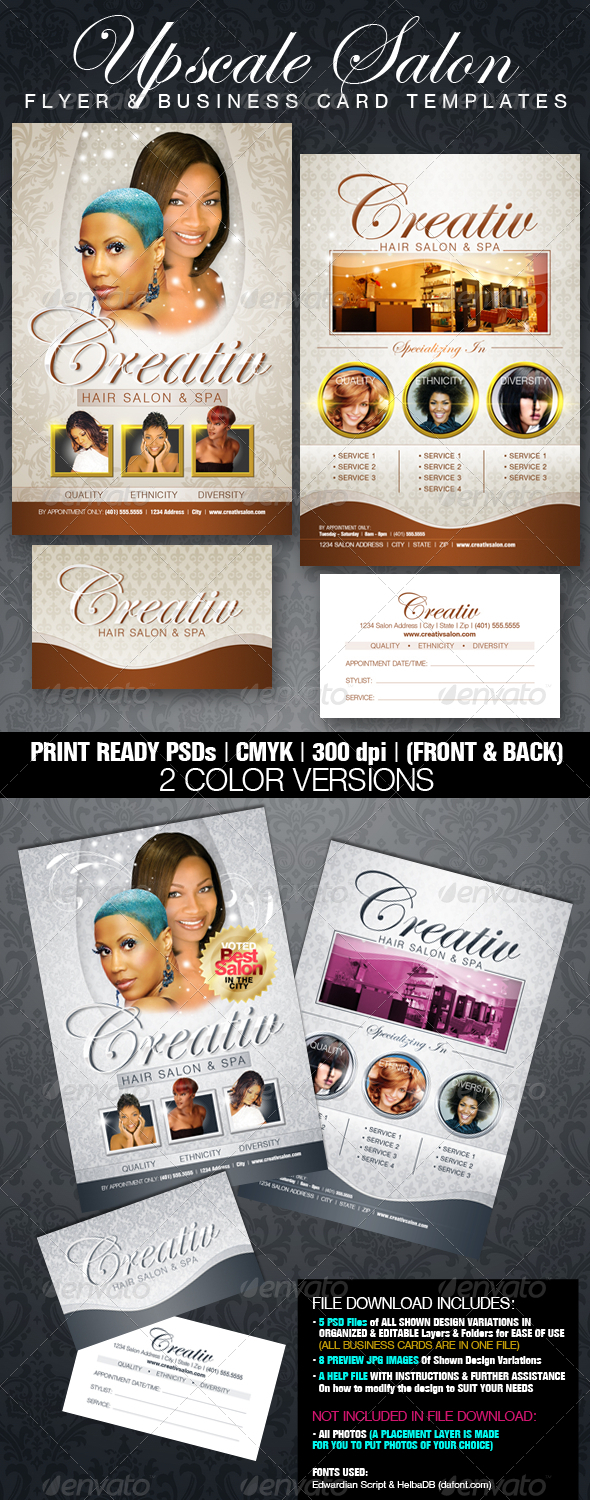 GraphicRiver Upscale Salon Flyer & Business Card Templates 546803
