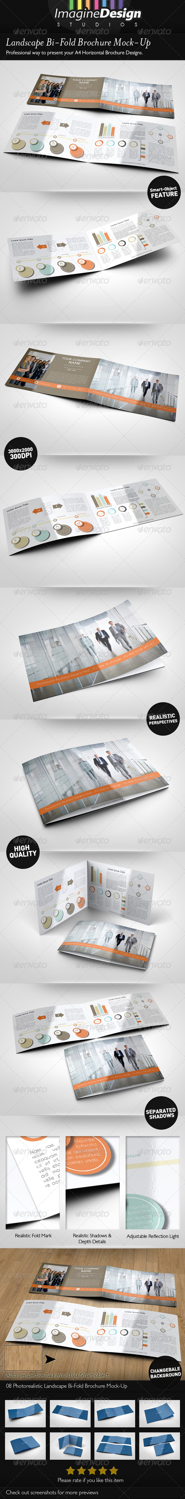 Landscape Bi-Fold Brochure Mock-Up - Brochures Print