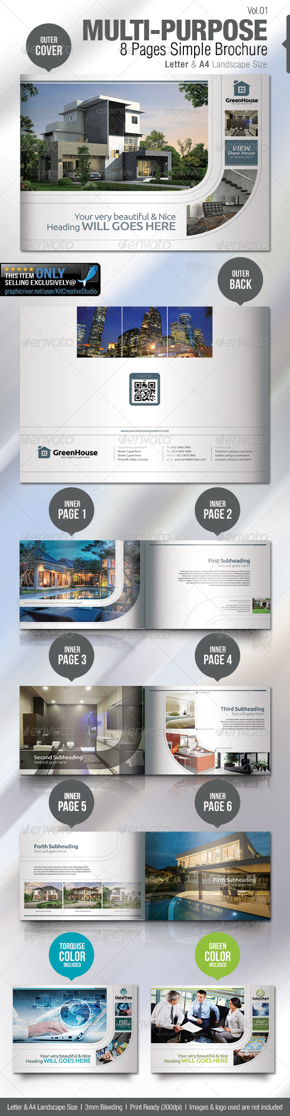 GraphicRiver Multi-purpose 8 Pages Simple Brochure 5307697
