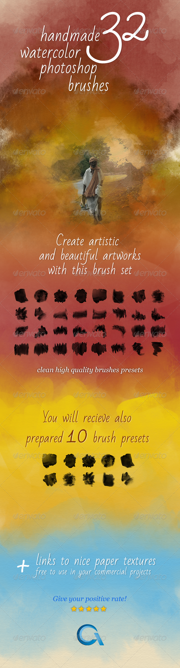 32 Watercolor Artistic Brushes  - Artistic Brushes