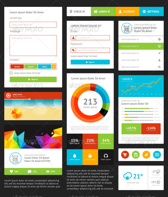 GraphicRiver UI Components Featuring a Flat Design 5307839