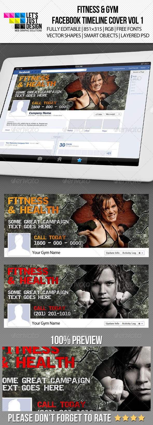 GraphicRiver Fitness & Gym Facebook Timeline Cover Vol 1 5307930