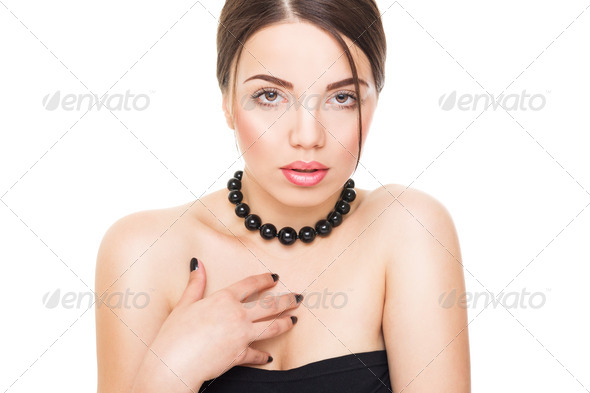 Sensual woman in black - Stock Photo - Images