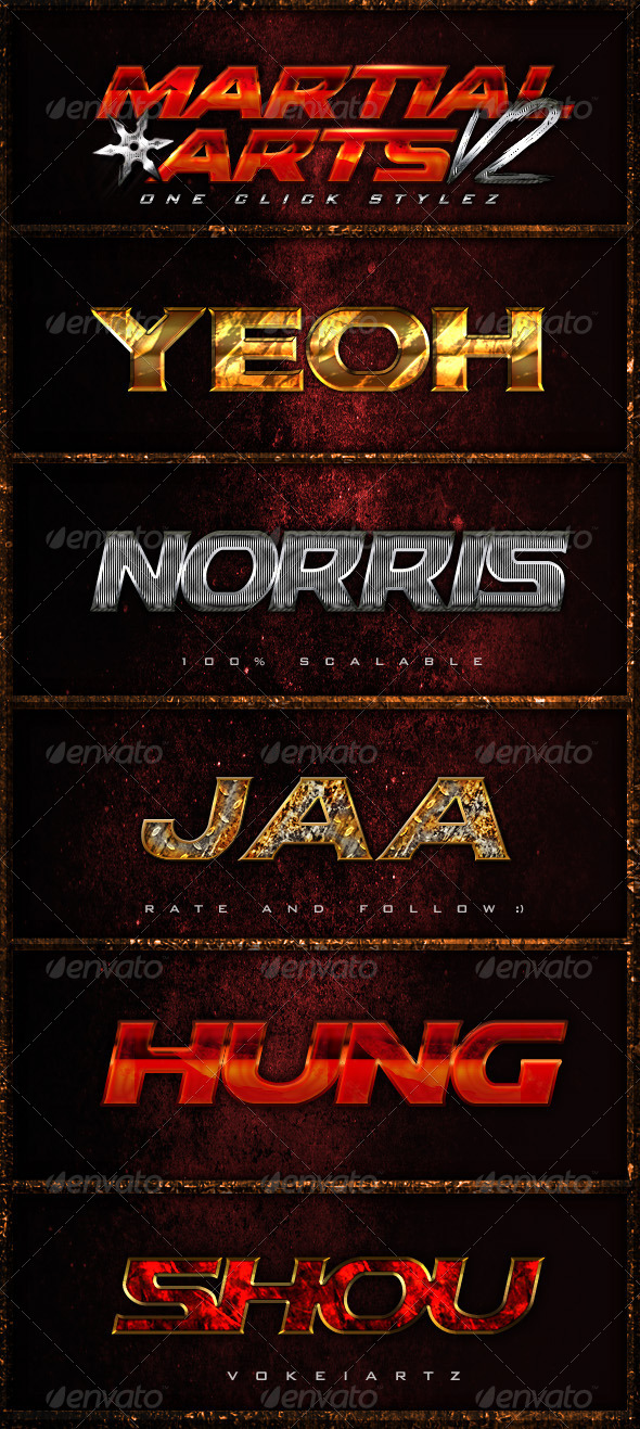GraphicRiver Martial Arts One Click Styles V2 5309624