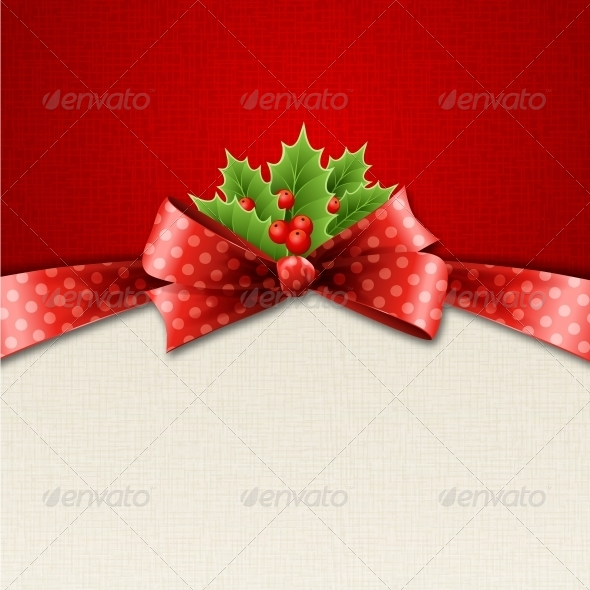 GraphicRiver Christmas Holly and Red Polka Dot Bow 5309647