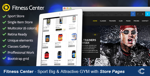 Fitness Center Premium Retina PSD  - Health & Beauty Retail