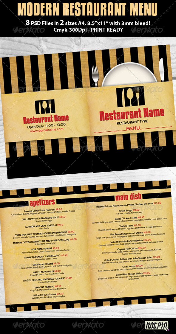 GraphicRiver Modern Restaurant Menu PSD Template 547082