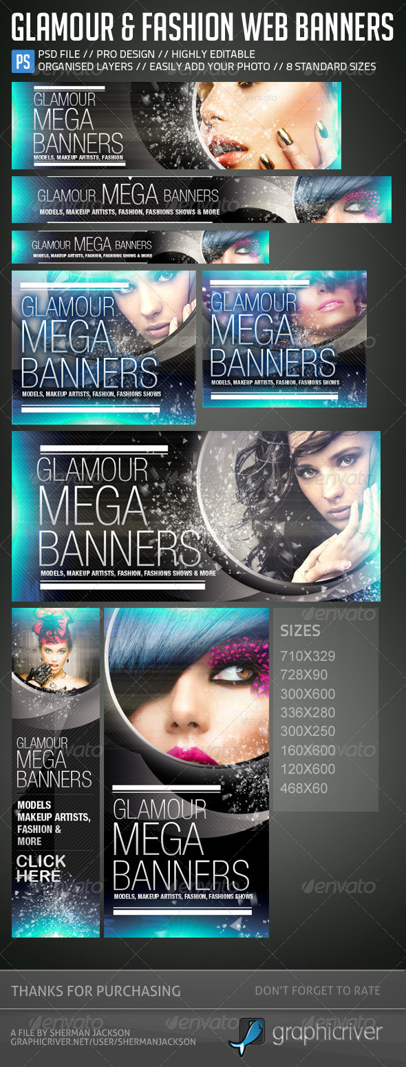 GraphicRiver Glamour Fashion Web Banners & Advertising Kit 5309749