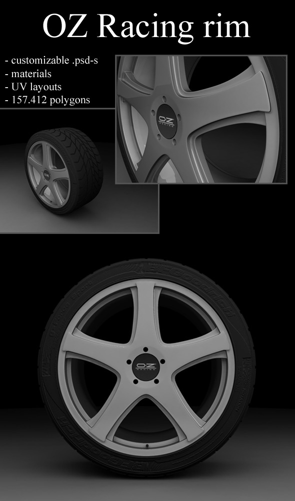 OZ rim with tire - 3DOcean Item for Sale