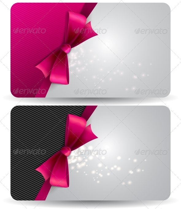 GraphicRiver Holiday Gift Card with Pink Ribbons and Bow 5310009