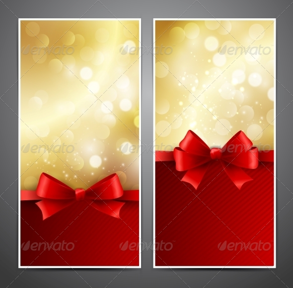 GraphicRiver Vector Gift Card with Red Bow and Ribbon 5310075