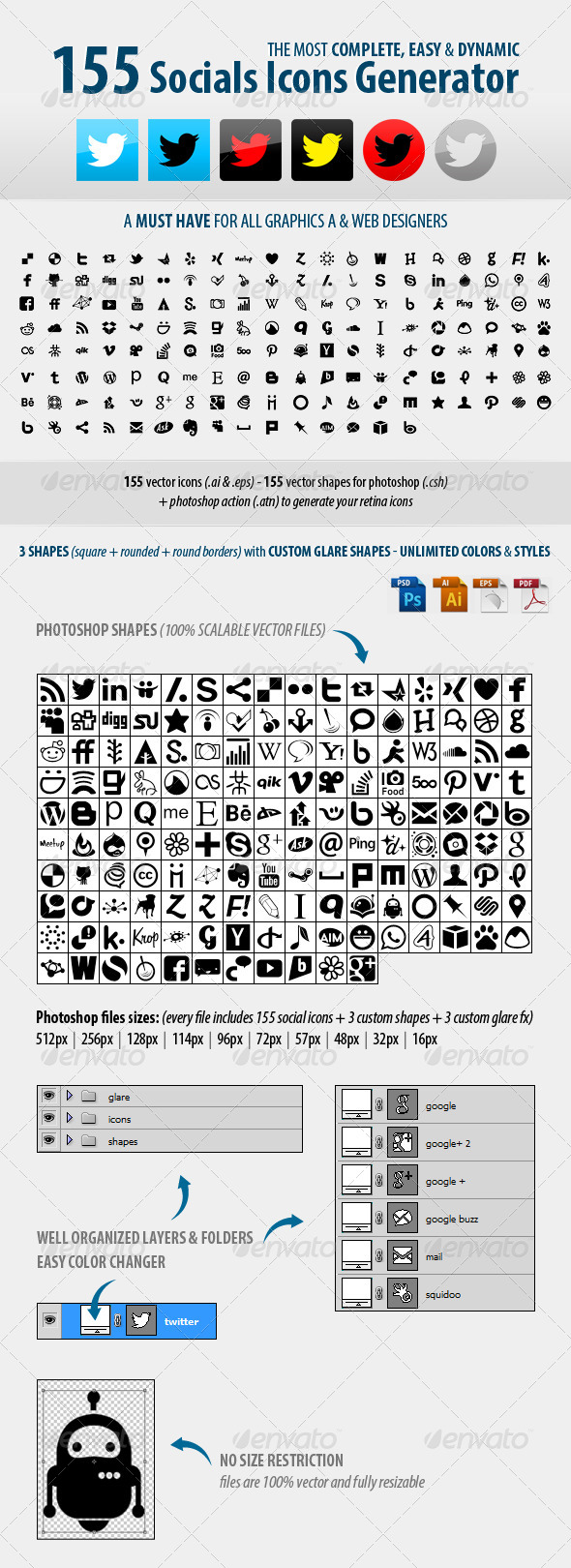 GraphicRiver 155 Social Icons Generator 5307939
