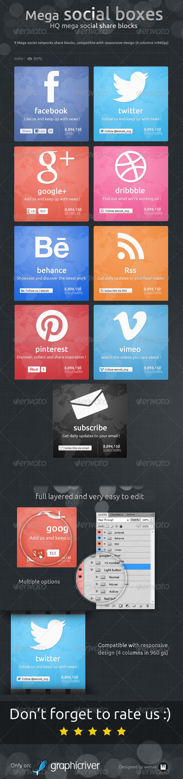 GraphicRiver Mega Social Boxes Social Share Blocks 5310414