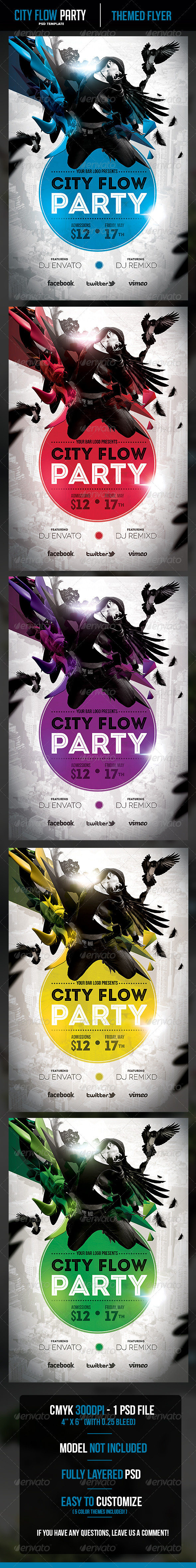 City Flow Party Flyer Template - Clubs & Parties Events