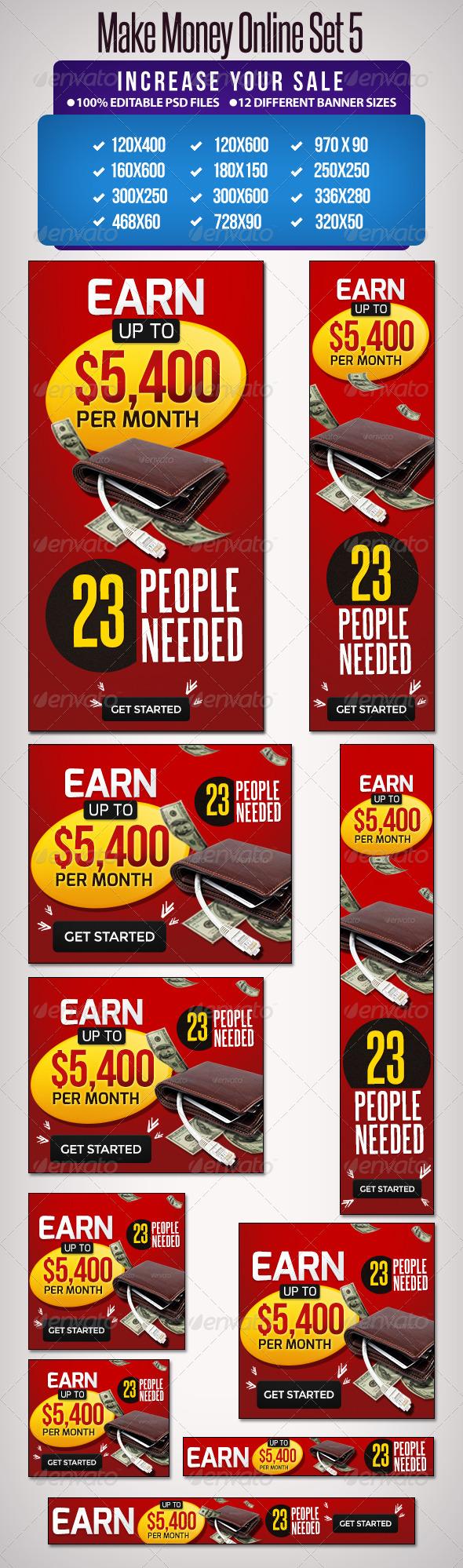 GraphicRiver Make Money Online Banner Set 12 Google Sizes 5310857