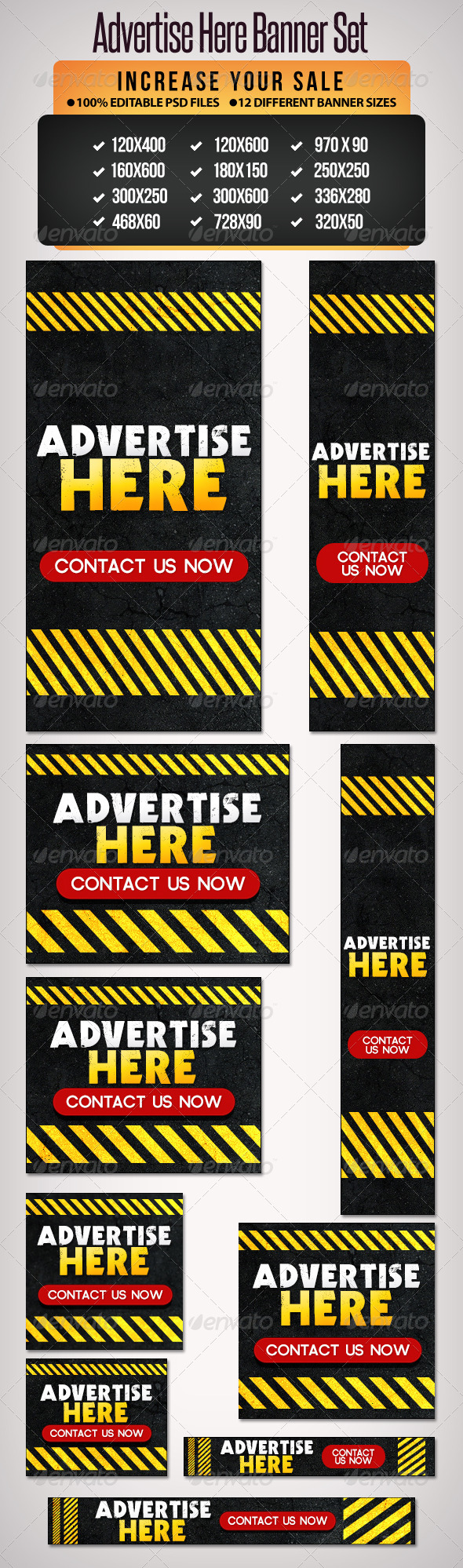 Advertise Here Banner Set 12 Google Sizes
