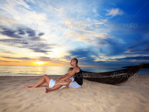 Romantic sunset - Stock Photo - Images