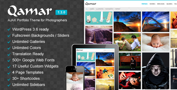 Qamar - AJAX Portfolio WP Theme for Photographers - Photography Creative