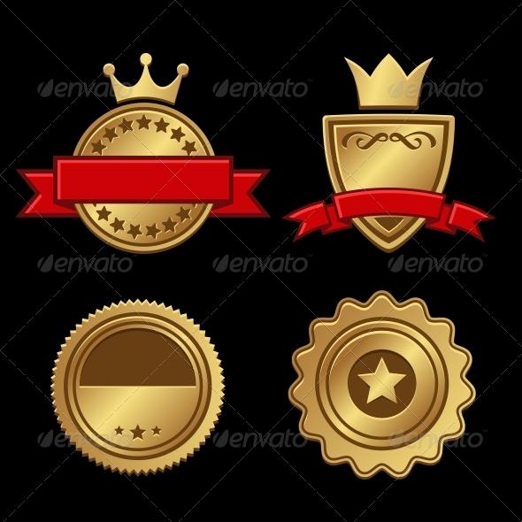 GraphicRiver Set of Gold Badges Vintage Award 5312049