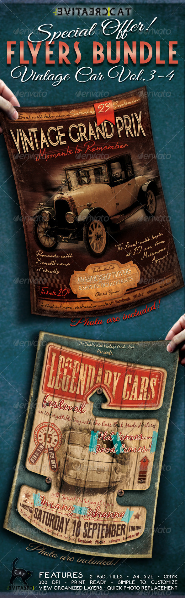 Vintage Car Flyer Poster Bundle Vol 3-4