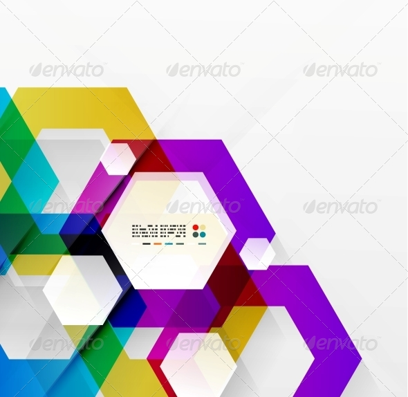 GraphicRiver Rainbow Hexagons Modern Design Template 5312159