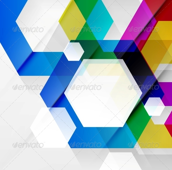 GraphicRiver Rainbow Hexagons Modern Design Template 5312163