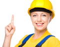 Young construction worker pointing up - PhotoDune Item for Sale