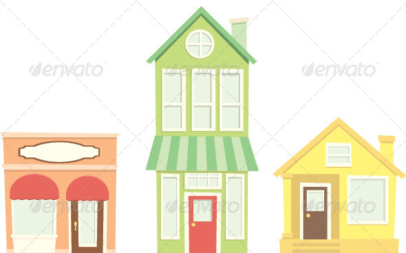 GraphicRiver Small Town Buildings and Shops 5312974