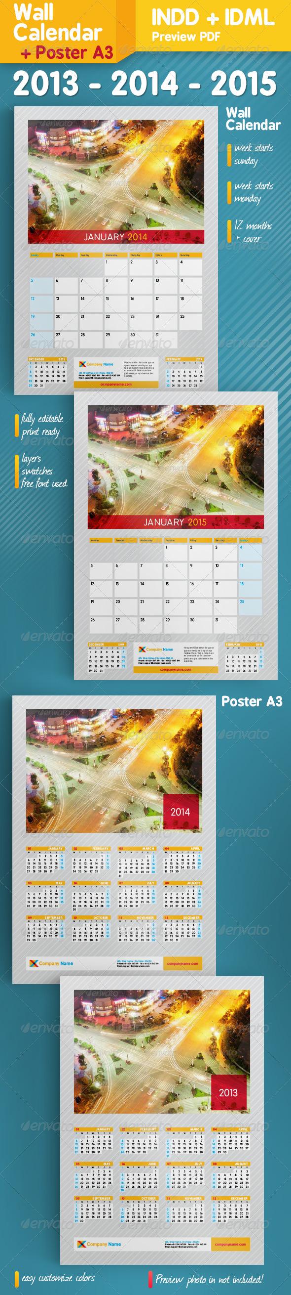 GraphicRiver Wall Calendar & Poster A3 2013-2014-2015 5313778