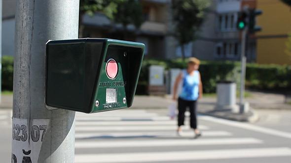 Pressing Pedestrian Traffic Light Button
