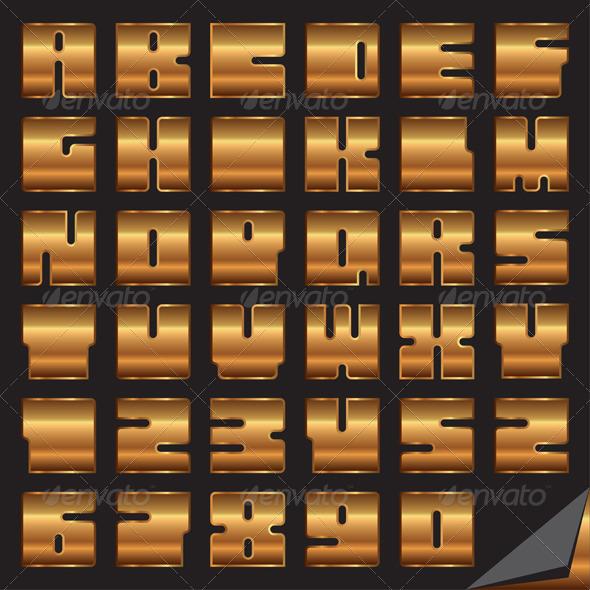 Gold Vector Font