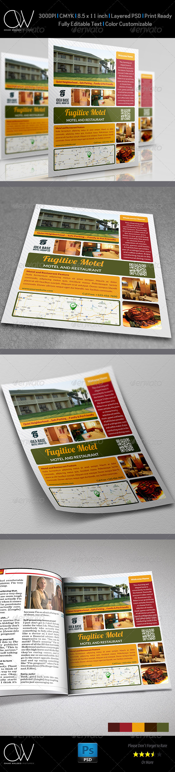 Motel and Restaurant Flyer - Flyers Print Templates