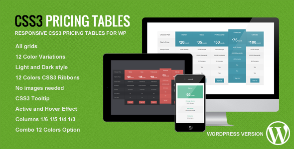 CodeCanyon Responsive CSS3 Pricing Tables WordPress Plugin 5292745