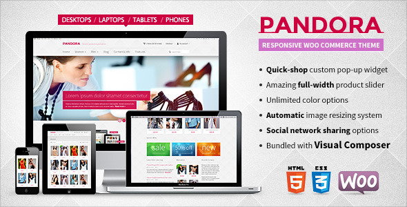 ThemeForest Pandora Responsive WooCommerce HTML5 Theme 5315097