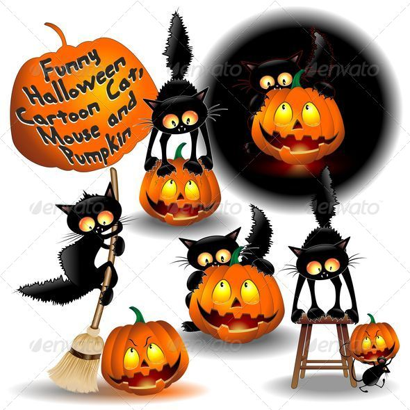 GraphicRiver Funny Halloween Cartoon Cat Mouse and Pumpkin 5315190