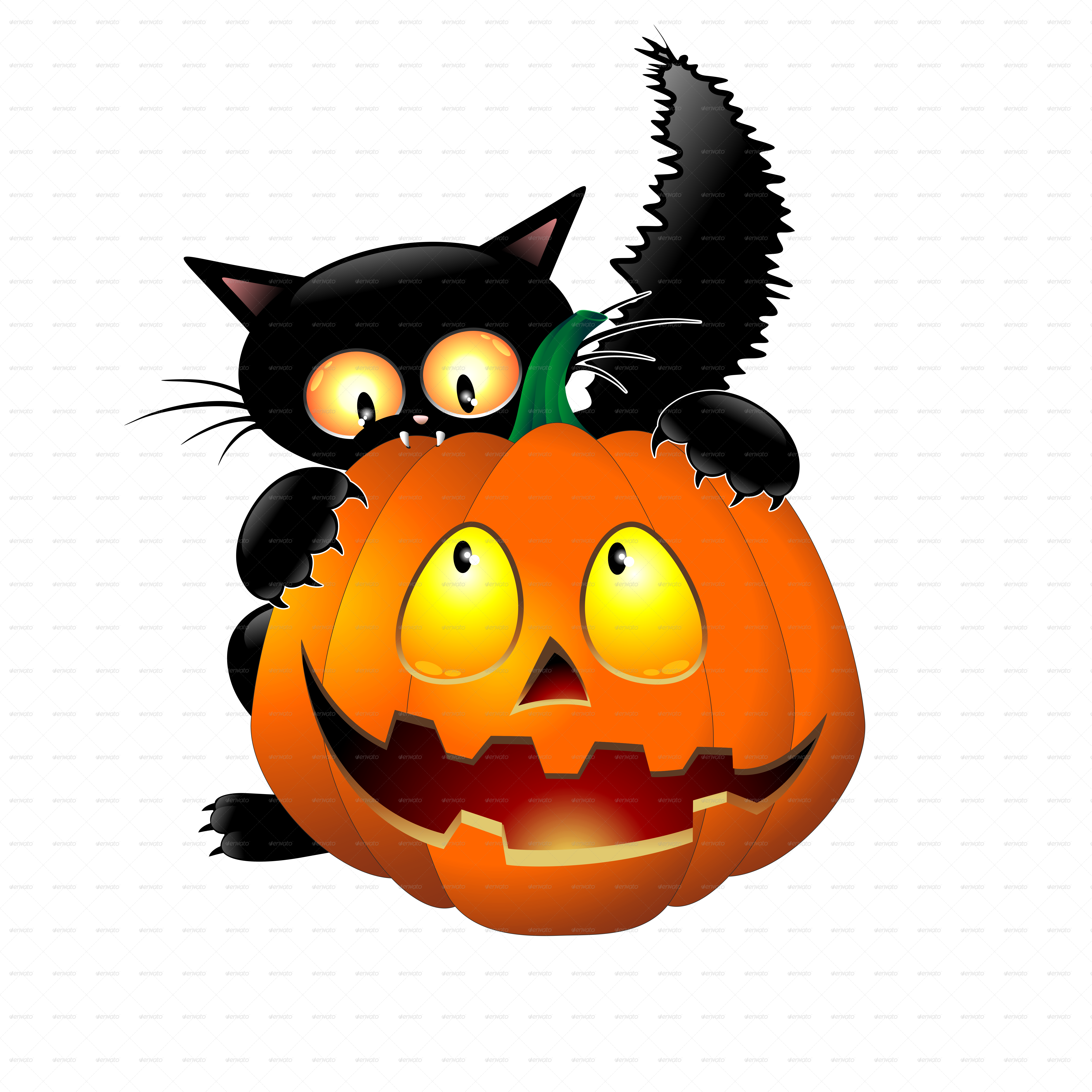 Funny Halloween Cartoon Cat, Mouse and Pumpkin by ... (5000 x 5000 Pixel)