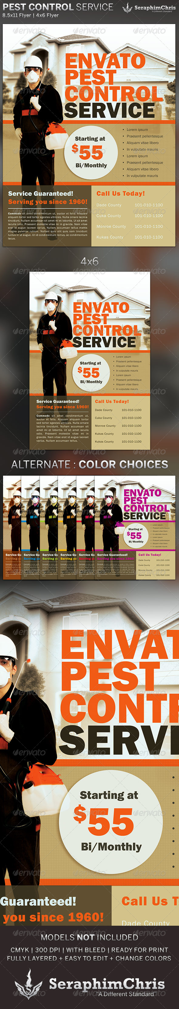 GraphicRiver Pest Control Service Flyer Template 5315500