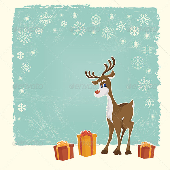 GraphicRiver Retro Christmas Card with Reindeer 5315503