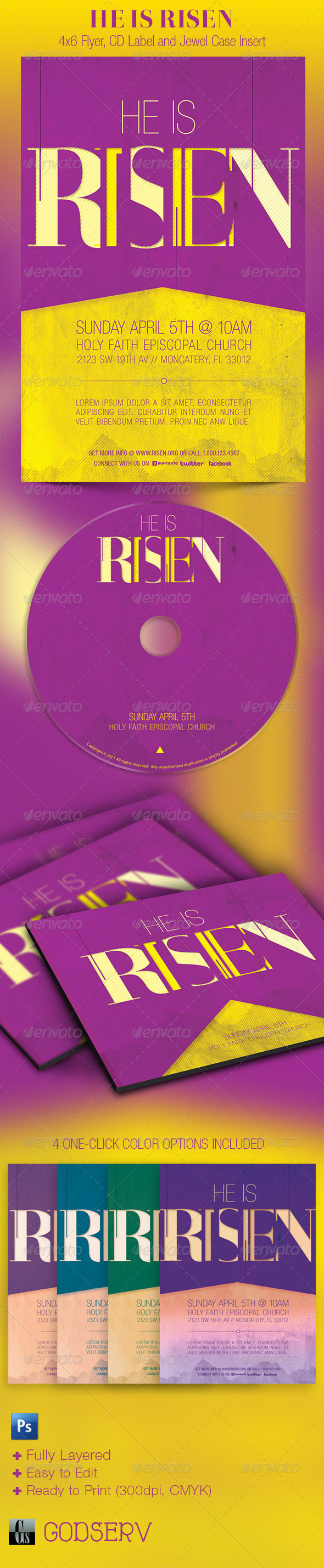 He Is Risen Church Flyer and CD Template - Church Flyers