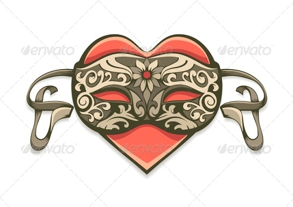 GraphicRiver Red Heart in Vintage Decorative Mask 5315758