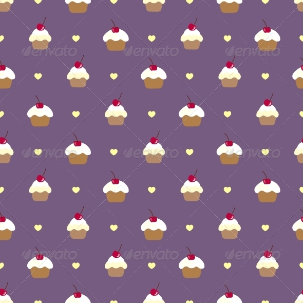 GraphicRiver Cupcake Seamless Vector Pattern 5315924
