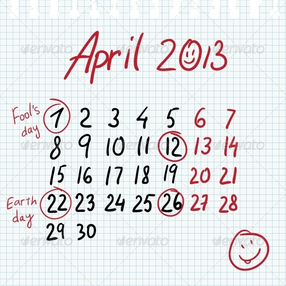 GraphicRiver Calendar 2013 April in Sketch Style 5315937